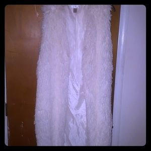 White faux extra long vest